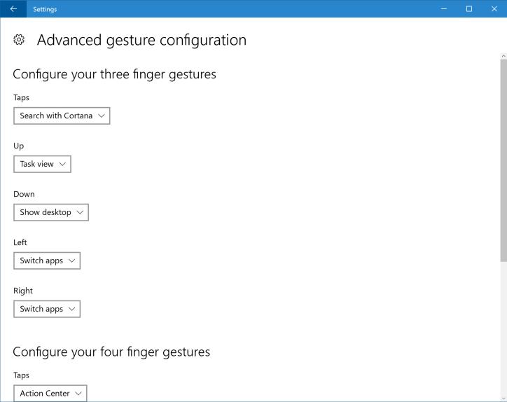 Windows 10 build 14946 Advanced Touchpad settings