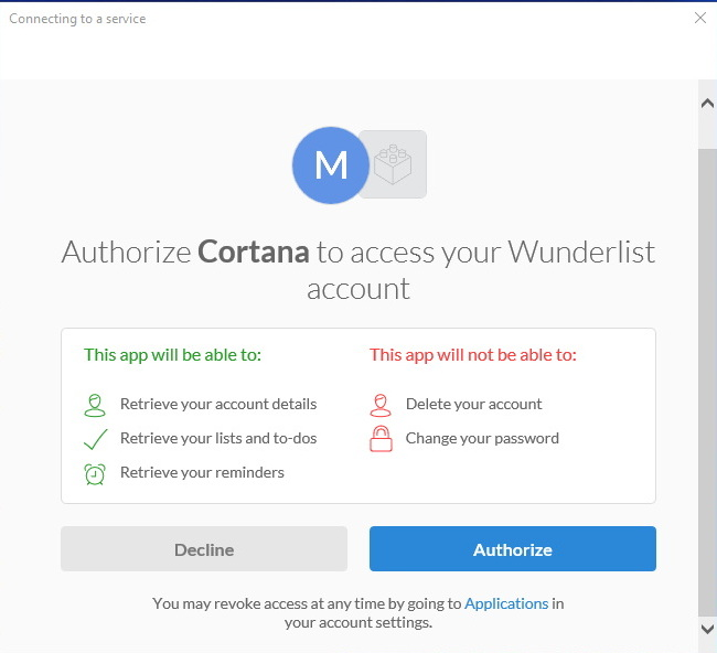 Authorizing Cortana to access Wunderlist