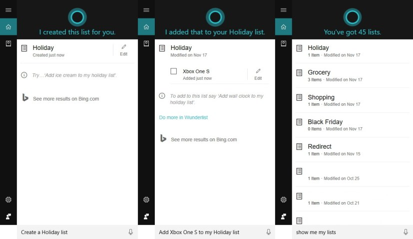 Creating lists using Cortana