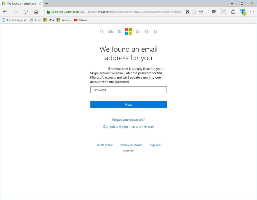 Merge accounts using your Microsoft account password