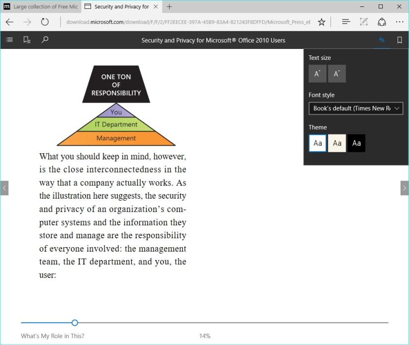 Microsoft Edge epub file support