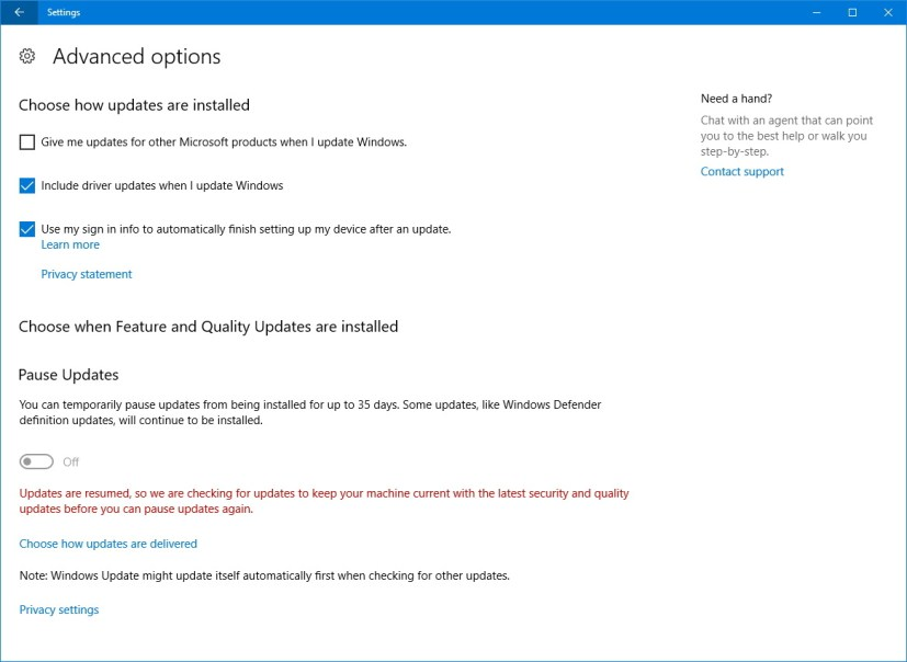 Pause Update on Windows 10