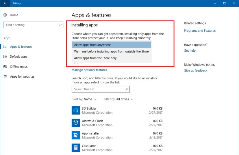 Windows 10 installing apps options