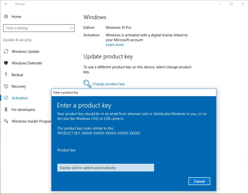 Change product key to upgrade Windows 10