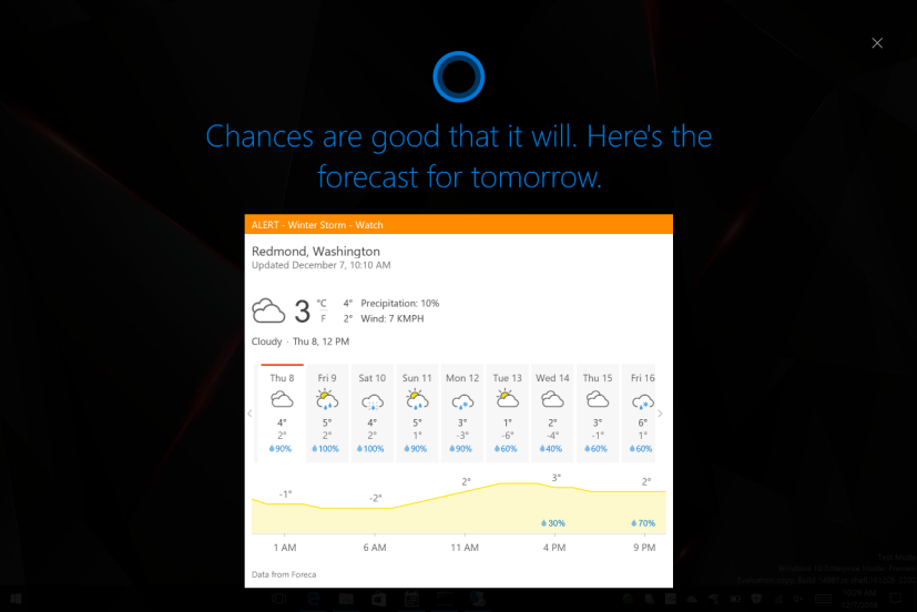Cortana full-screen mode