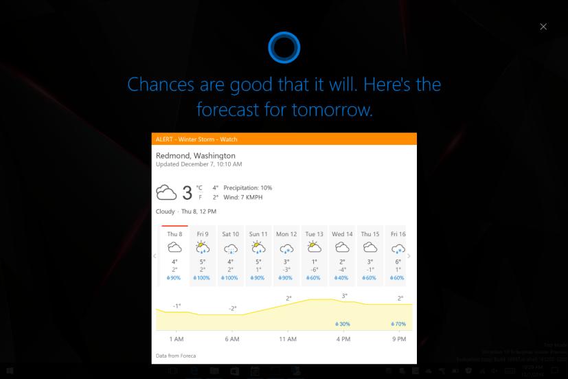 Cortana full-screen mode