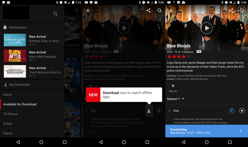 Download Netflix content to watch offline
