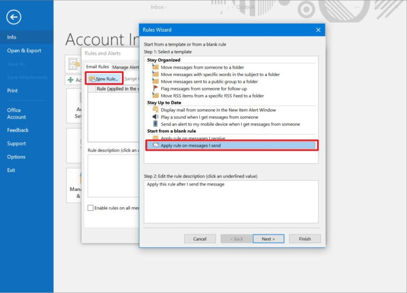 Outlook rule settings