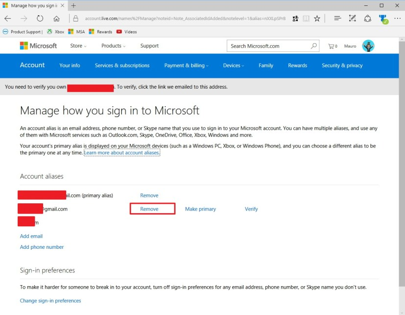Remove an alias on a Microsoft account