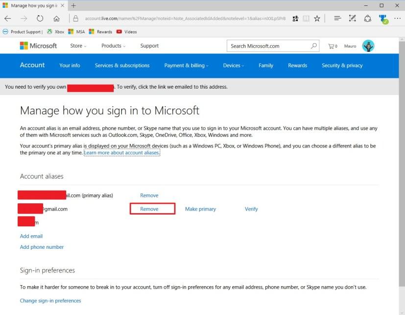 Remove an alias on a Microsoft account