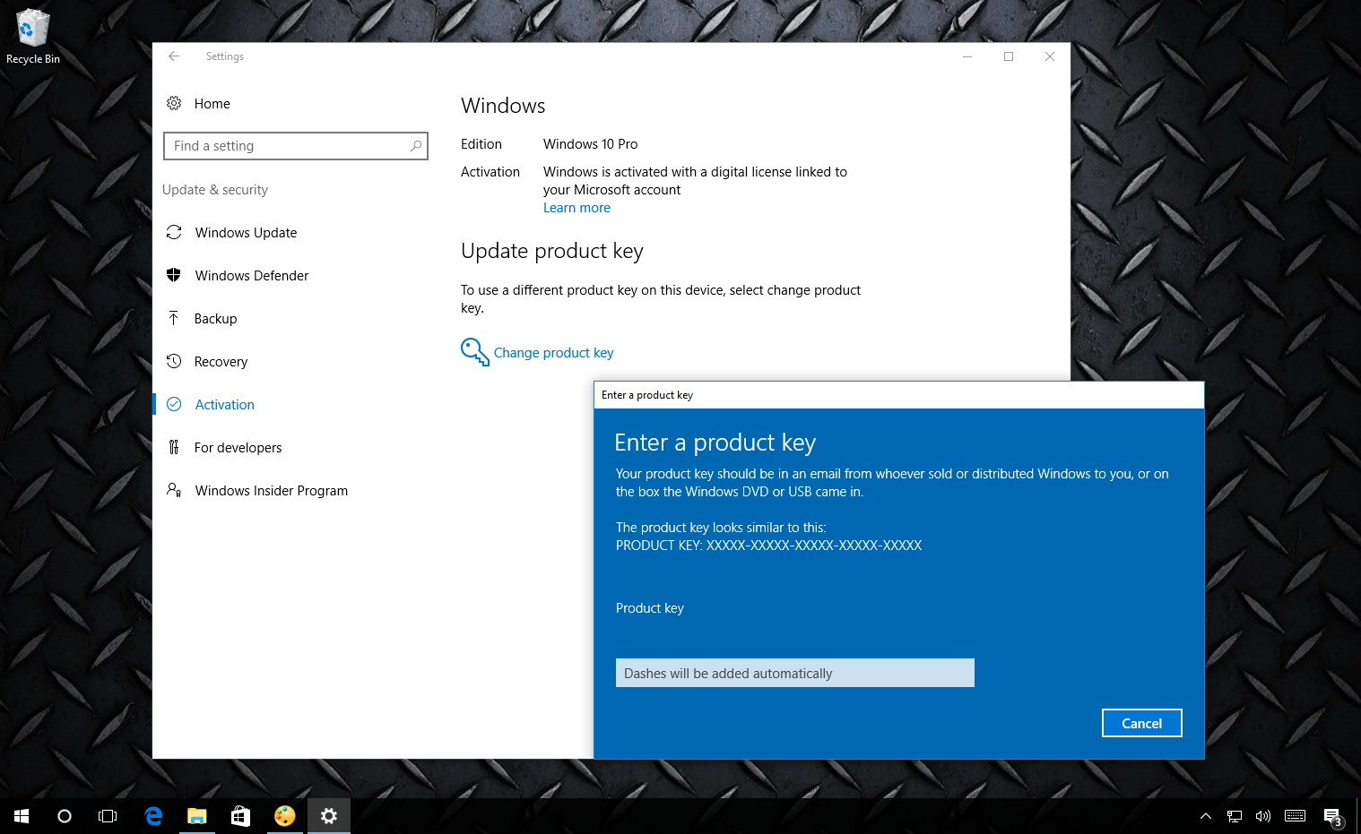 Upgrade Windows 10 Home to Windows 10 Pro changing product key