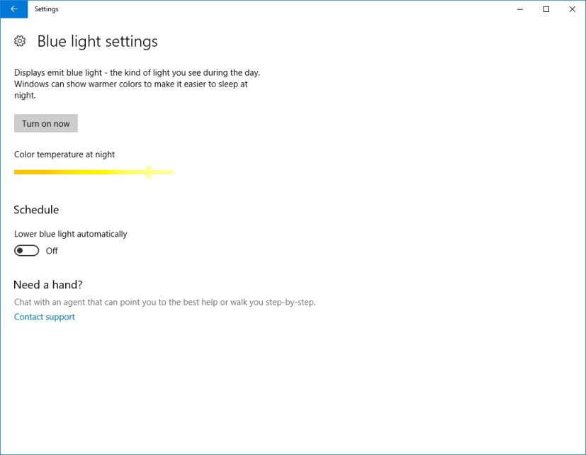 Windows 10 Blue light settings