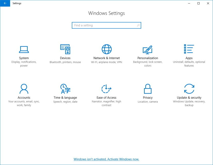 Windows 10 build 14997 Settings