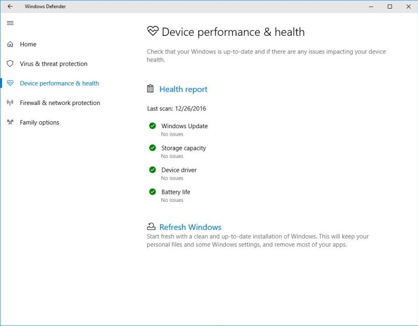 Windows Defender Device performance & health
