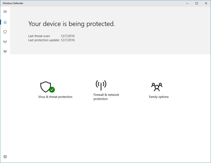 Windows Defender new dashboard