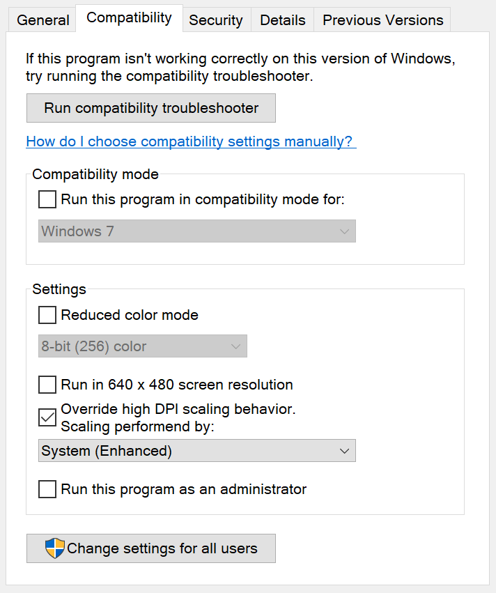 Windows 10 new System (Enhanced) compatibility option