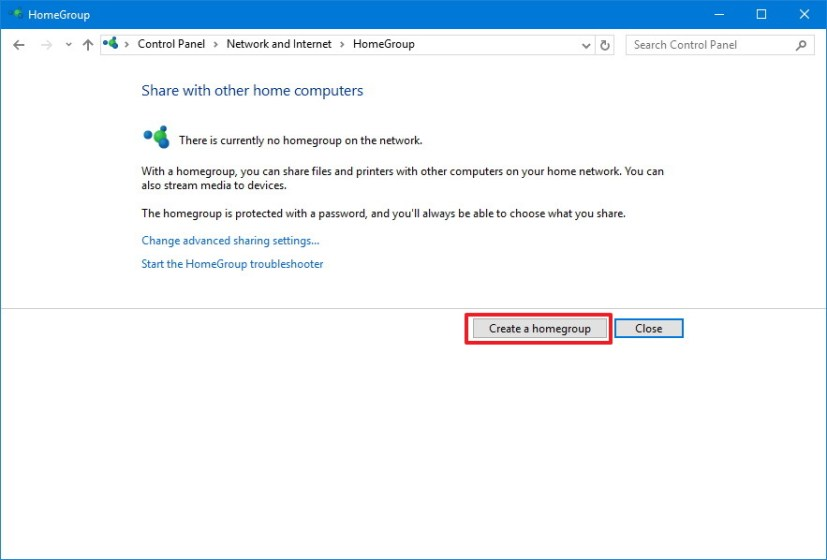 Create Homegroup on Windows 10