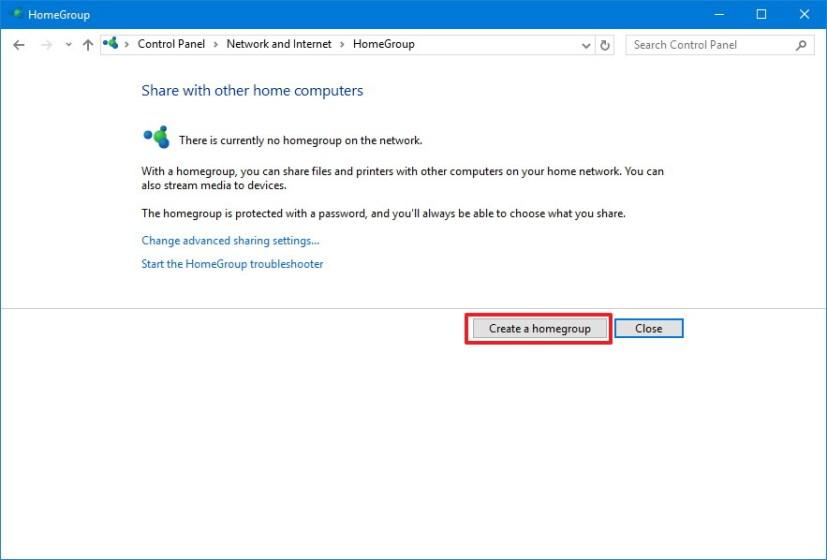 Create Homegroup on Windows 10