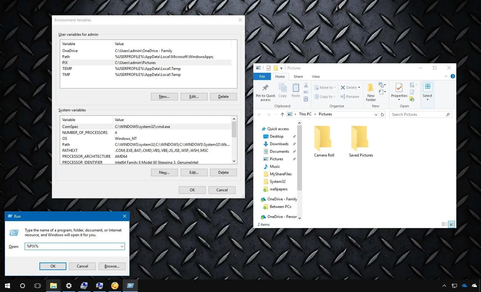 Windows 10 custom environment variables