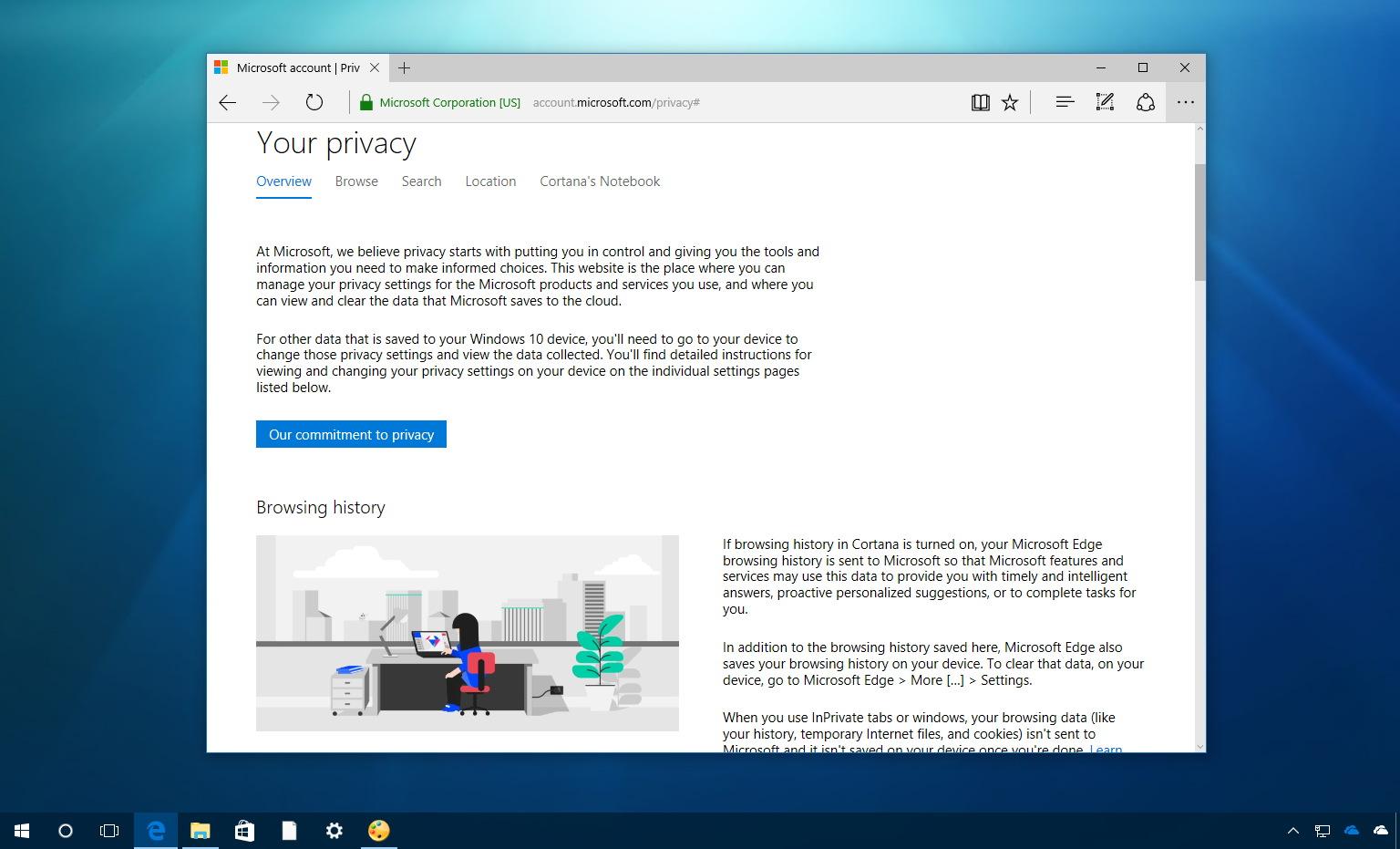 Microsoft privacy dashboard
