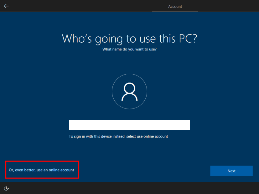 Microsoft account sign-in OOBE