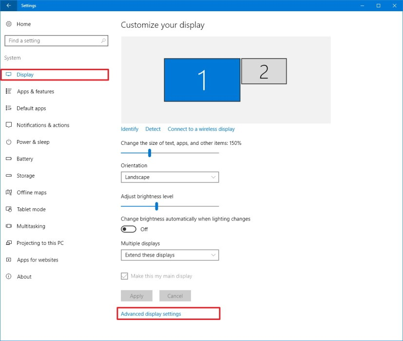 Display customization settings on Windows 10