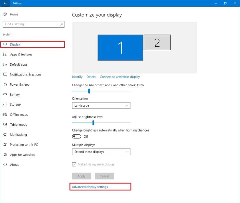Display customization settings on Windows 10