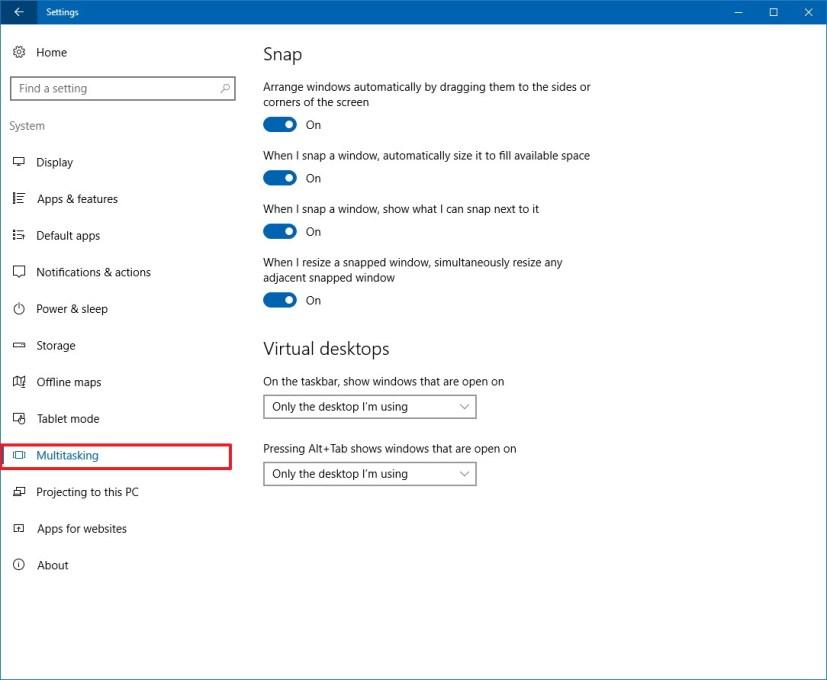 Multitasking customization settings
