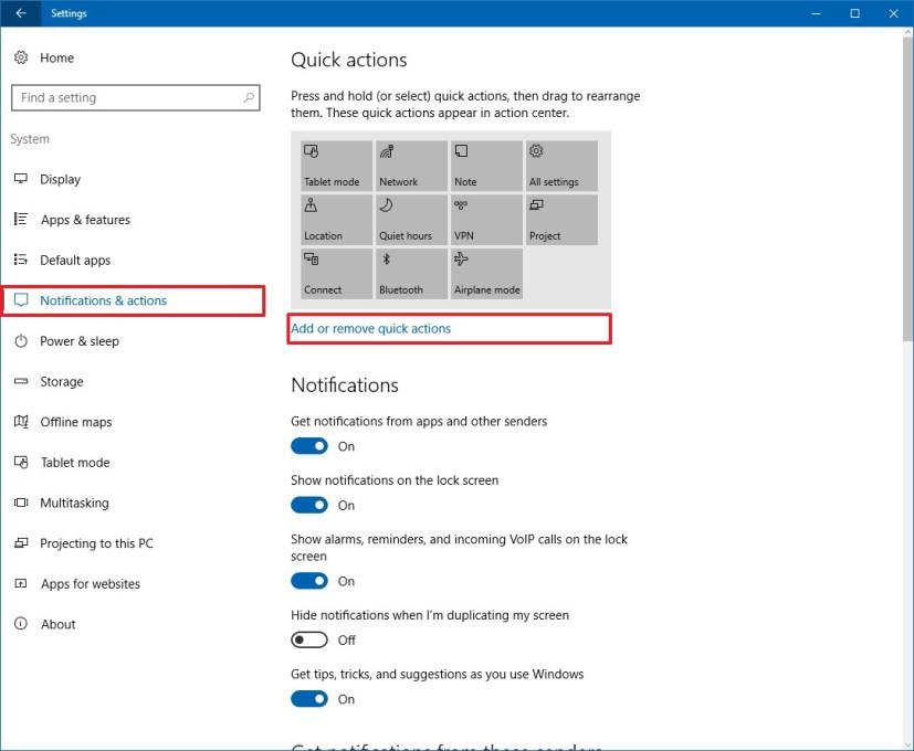 Notifications & actions customization settings