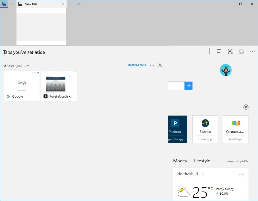 Microsoft Edge Tabs you set aside