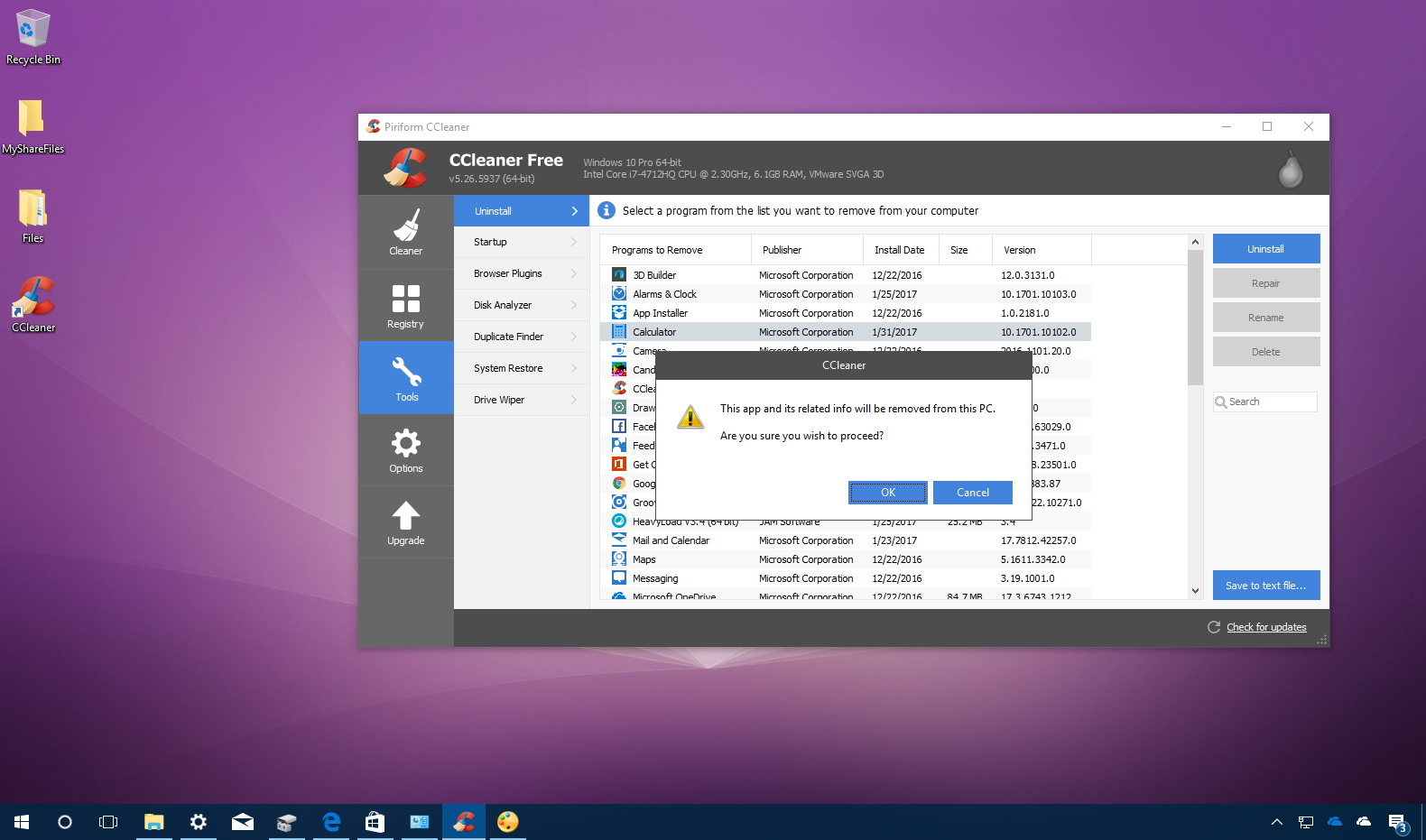 Uninstall Windows 10 apps using CCleaner