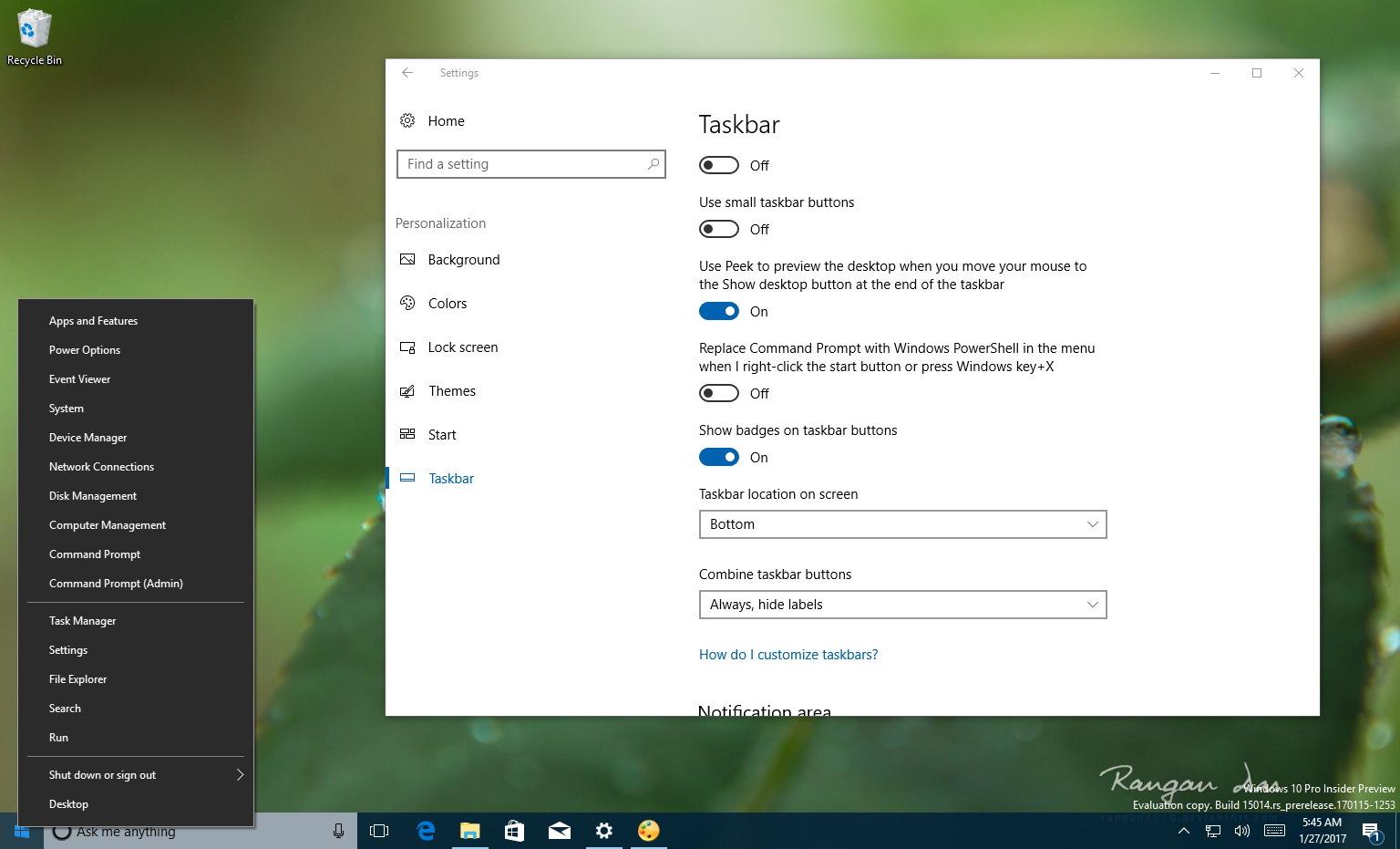 Command Prompt on Power User menu (Windows + X)