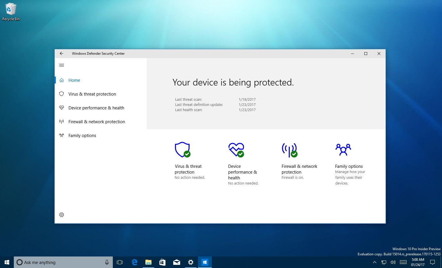 Windows Defender Security Center on Windows 10 Creators Update