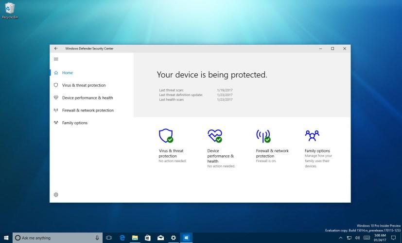 Windows Defender Security Center on Windows 10 Creators Update