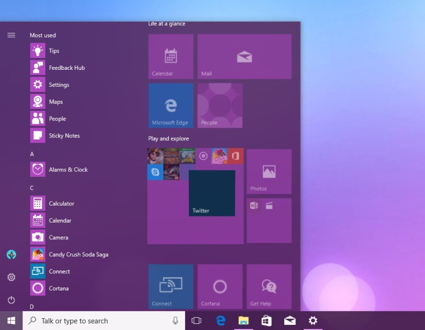 Add new items to the Tile Folder in the Start menu