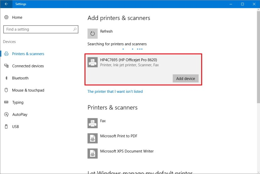 Add wireless printer on Windows 10