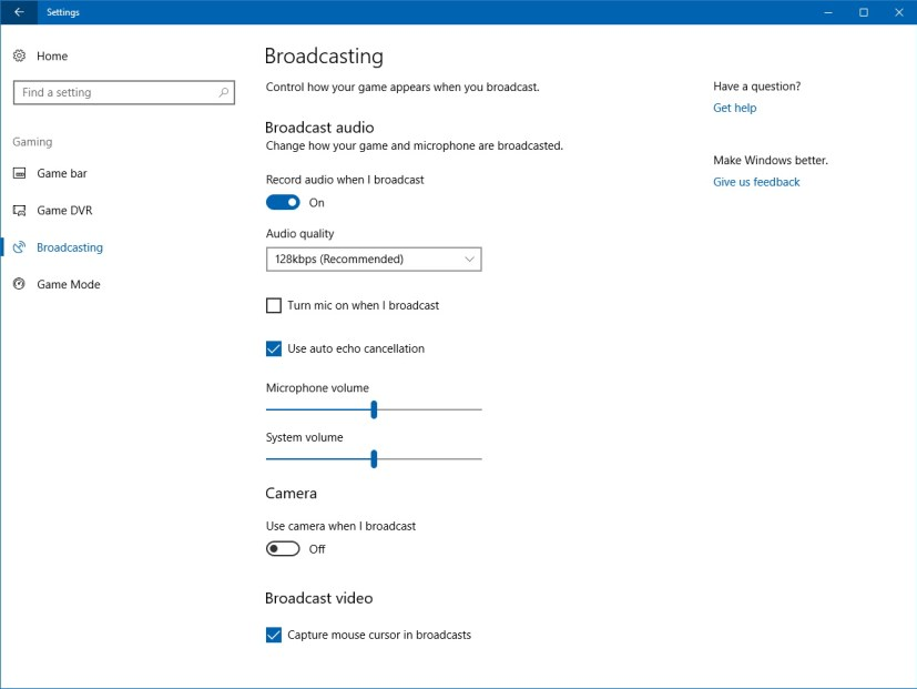 Beam broadcasting setting on Windows 10