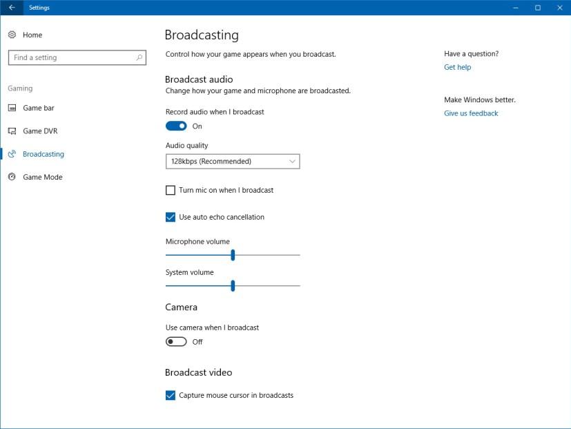 Beam broadcasting setting on Windows 10