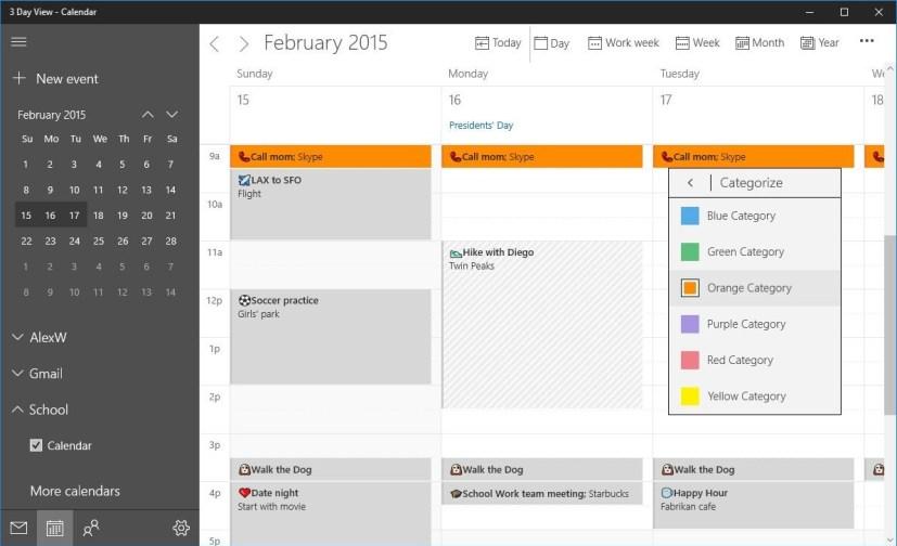 Windows 10 Calendar Color categories