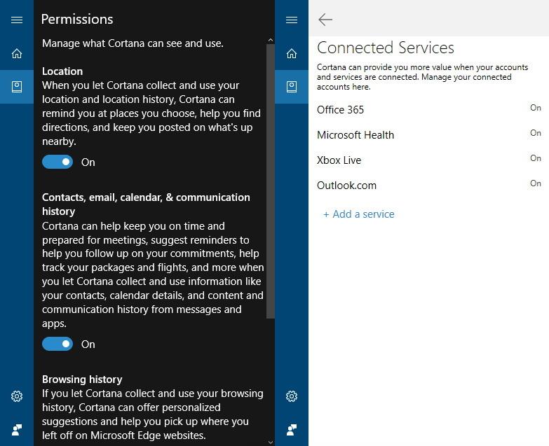 Cortana's Notebook settings