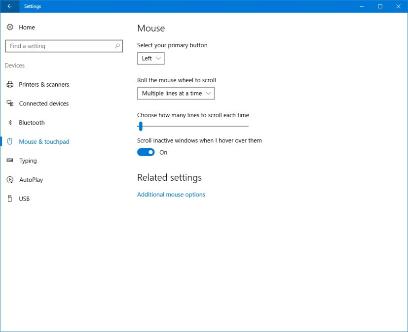 Mouse and touchpad customization settings