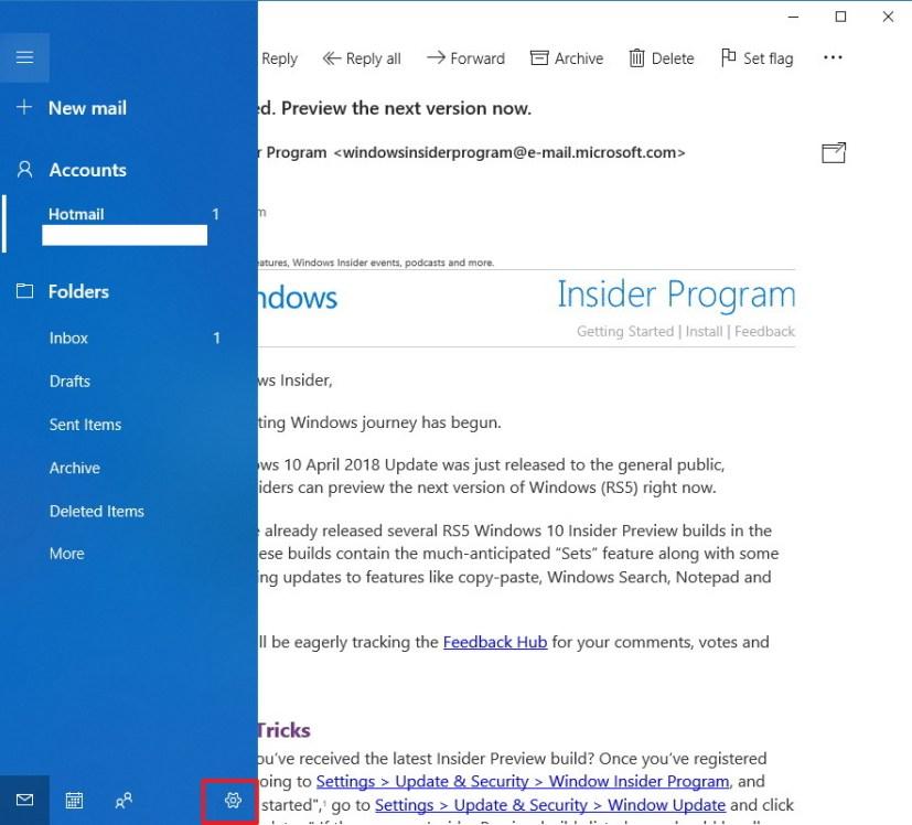 Mail app on Windows 10 left pane