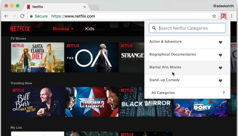 Netflix Categories extension for Chrome
