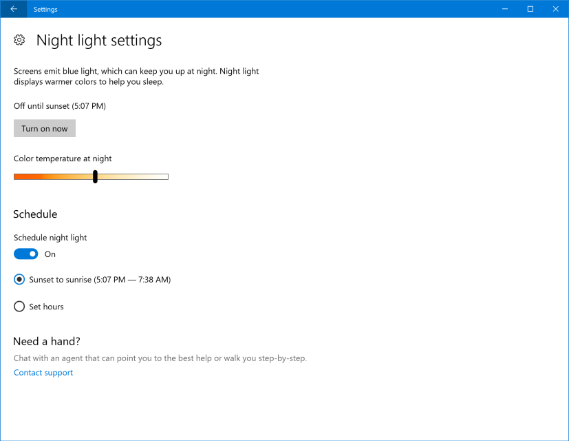 Night Light settings improvements