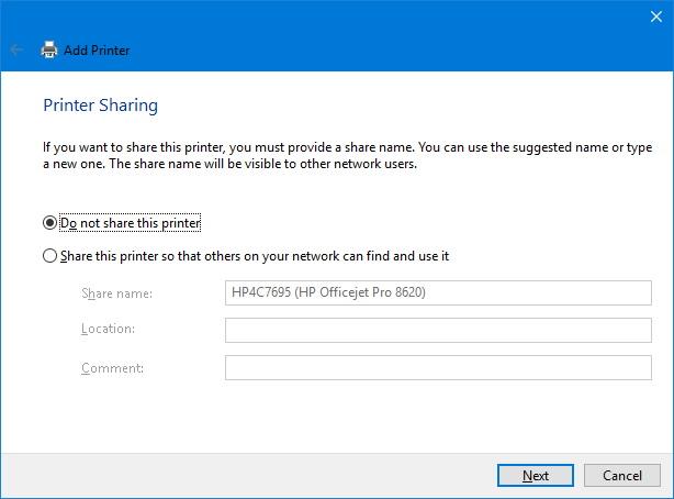 Printer sharing options
