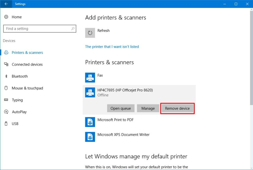 Remove wireless printer on Windows 10