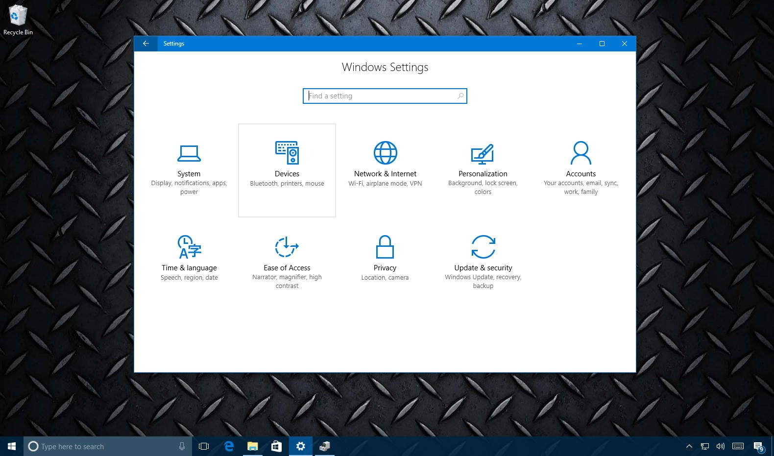 Windows 10 Settings Devices