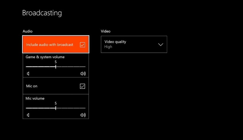 Xbox One Broadcasting settings