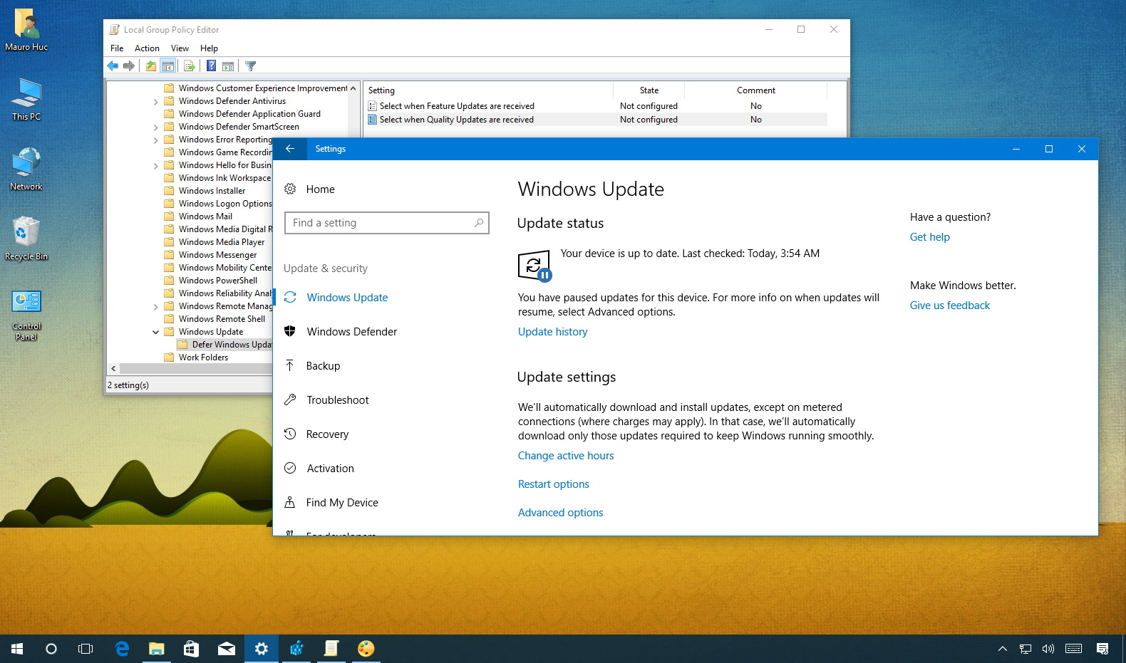 control windows 10 updates with group policy