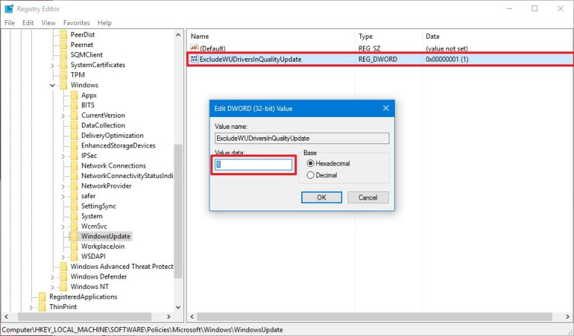 Exclude driver update Registry setttings